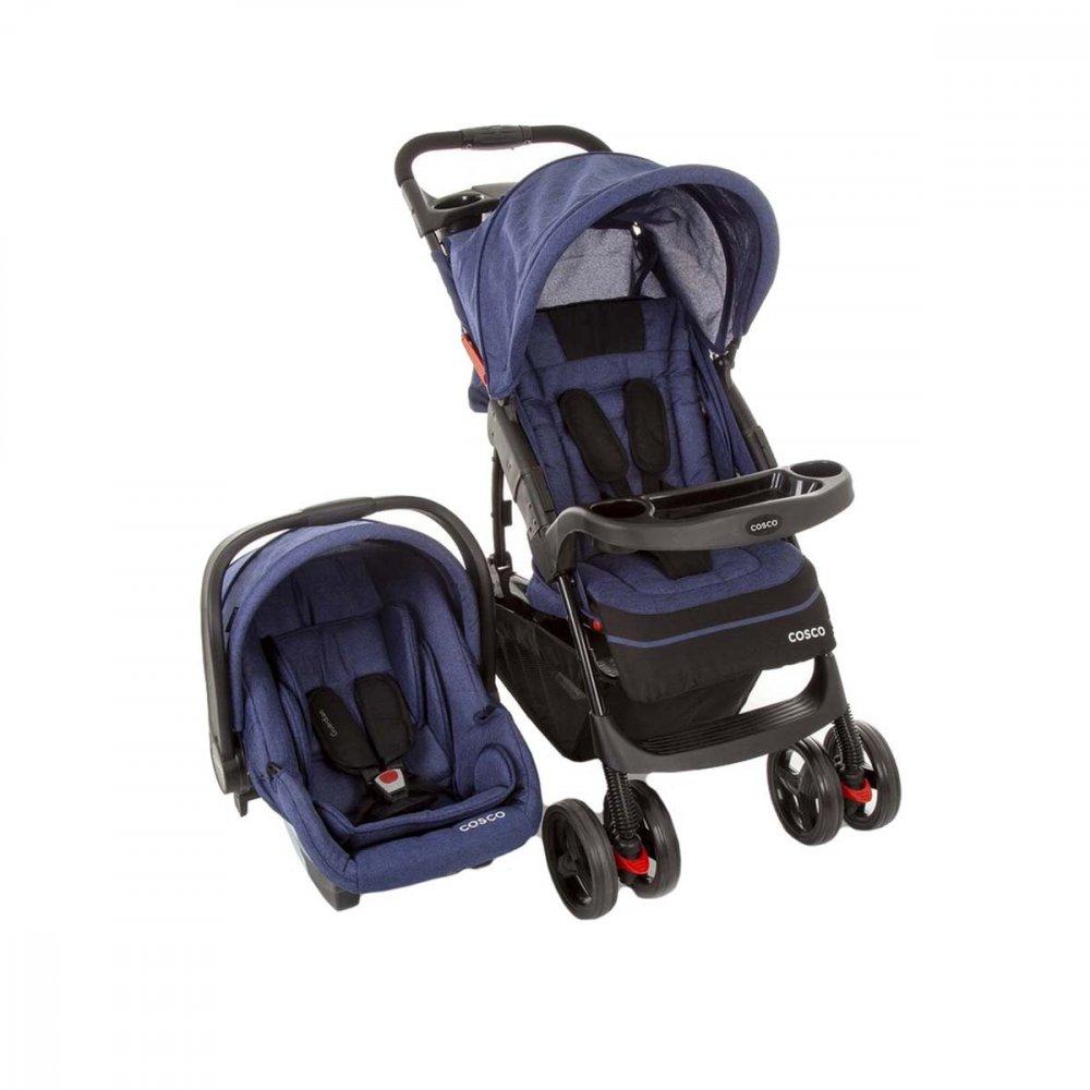 Carrinho de Bebê Travel System 4 Rodas 3 Posições Suporta até 15Kg Azul unidade Cosco  UN