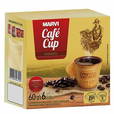 Casquinha crocante com chocolate em formato de xícara 6 unidades Marvi caixa CX