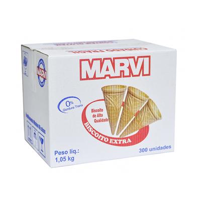 Casquinha de sorvete biscoito extra 300 unidades Marvi caixa CX