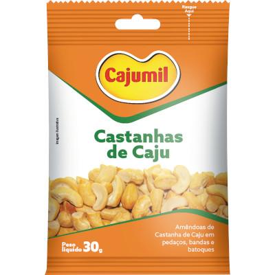 Castanha de Cajú torrada e salgada 30g Cajumil pacote PCT
