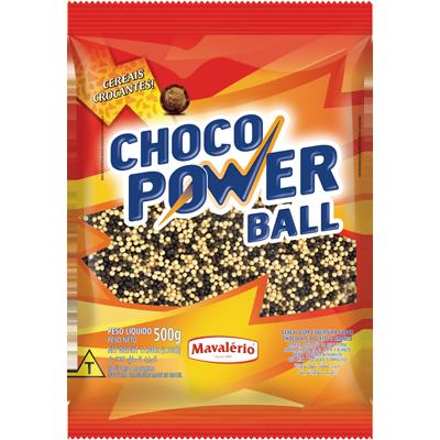 XXCereal com cobertura ao leite e branco micro 500g Choco Power Ball/Mavalério pacote PCT