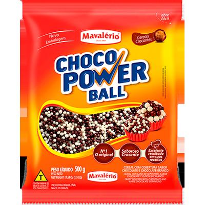 Cereal com cobertura ao leite e branco 500g Choco Power Ball/Mavalério pacote PCT