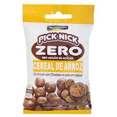 Cereal de Arroz com cobertura de chocolate zero açúcar 30g Pick Nick/Montevergine unidade UN