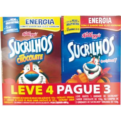Cereal Matinal 3 Original + Grátis 1 Chocolate 4 unidades de 150g Kellogg's/Sucrilhos kit UN