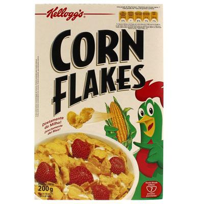 Cereal Matinal de flocos de milho sem açúcar 200g Kellogg's/Corn Flakes pacote UN