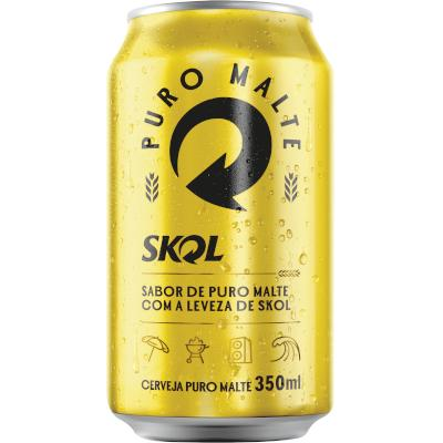 Cerveja Puro Malte 350ml Skol lata UN