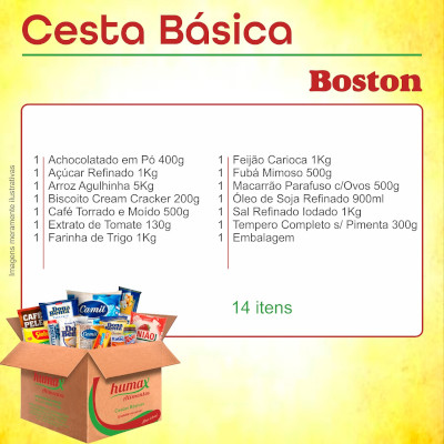 Cesta Básica Boston 14 itens Humax Alimentos caixa CX