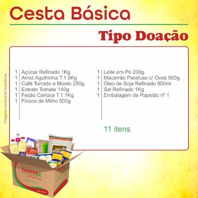 Cesta Básica Doação 11 itens Humax Alimentos caixa CX