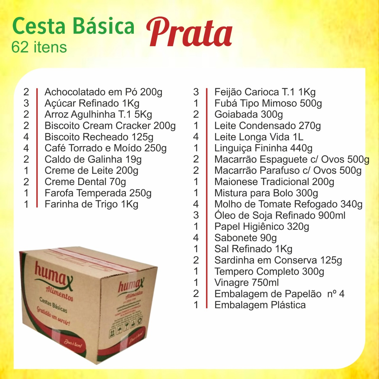 Cesta Básica Prata 62 itens Humax Alimentos caixa CX
