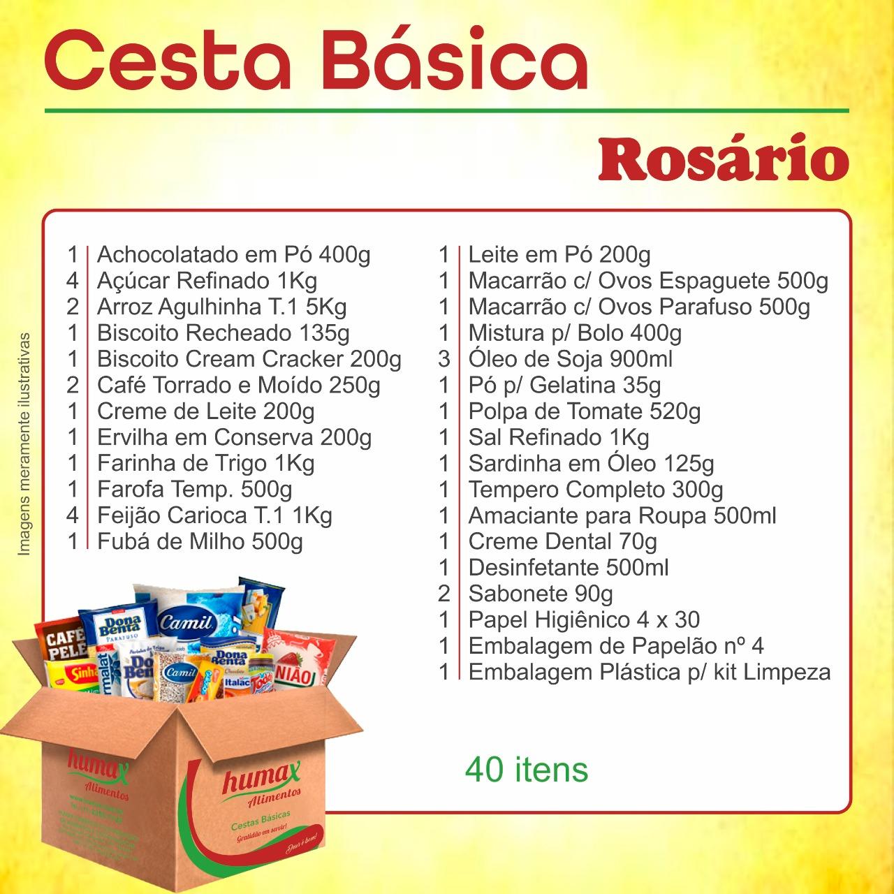 Cesta Básica Rosário 40 itens Humax Alimentos caixa CX