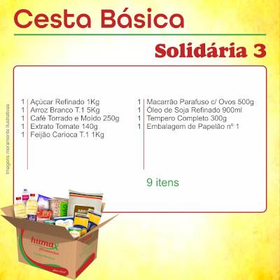 Cesta Básica Solidária 3 09 itens Humax Alimentos caixa CX