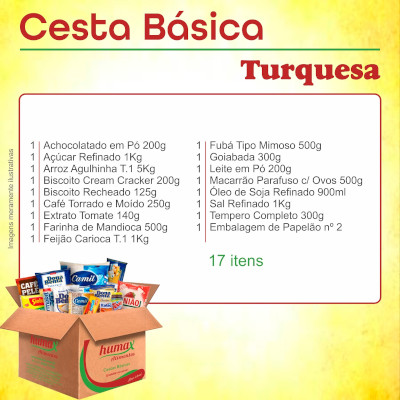 Cesta Básica Turquesa 17 itens Humax Alimentos caixa CX