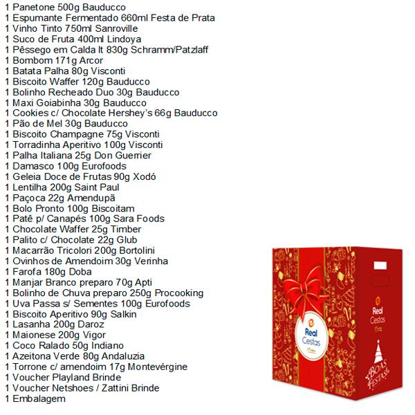 Cesta de Natal Felicidade 38 itens Real Cestas caixa UN