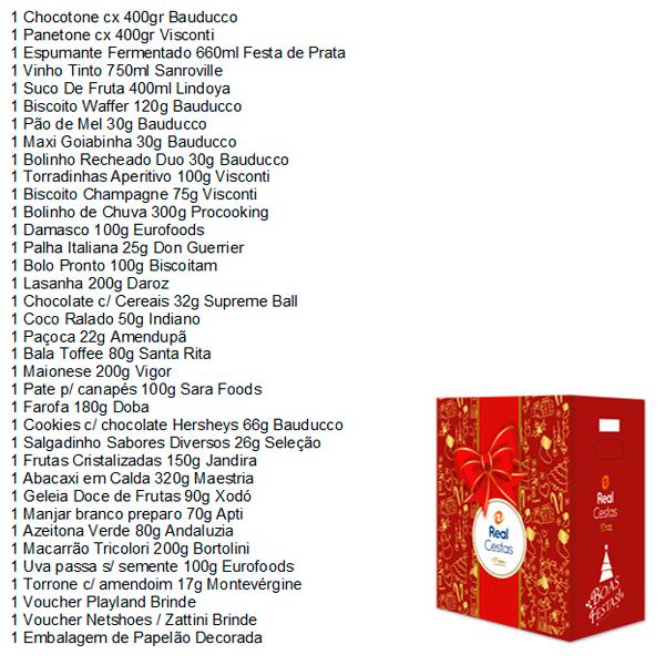Cesta de Natal Fraternidade 36 itens (2 panetones) Real Cestas caixa UN