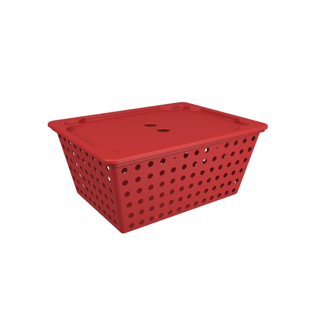 Cesta One Maxi com Tampa Vermelho Bold Polipropileno (PP) 39 x 30 x 16,8 cm Coza  UN