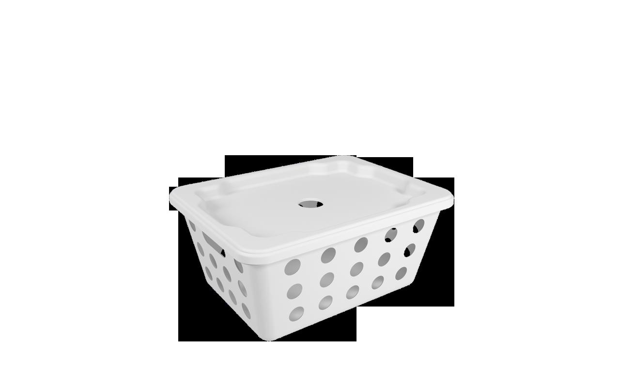 Cesta One Pequena com Tampa Branco Polipropileno (PP) 18,6x14,2x8,2 cm Coza  UN