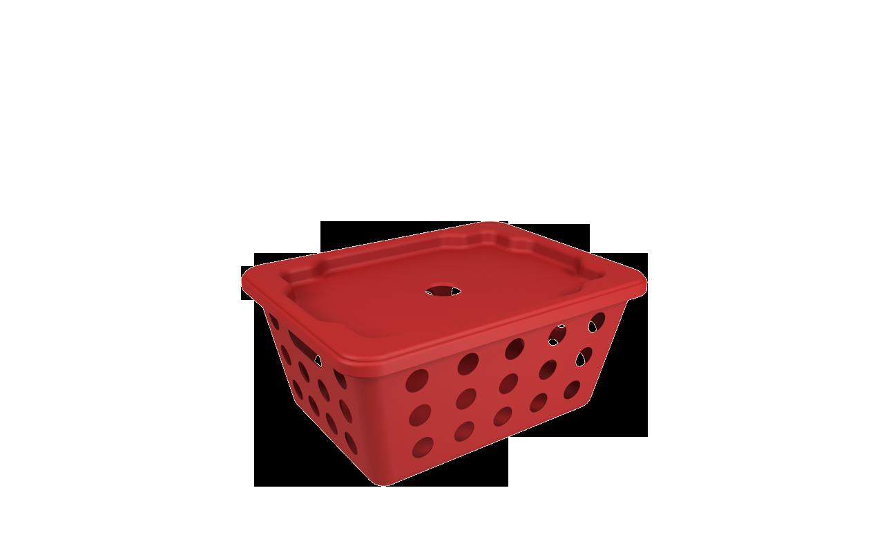 Cesta One Pequena com Tampa Vermelho Bold Polipropileno (PP) 18,6x14,2x8,2 cm Coza  UN