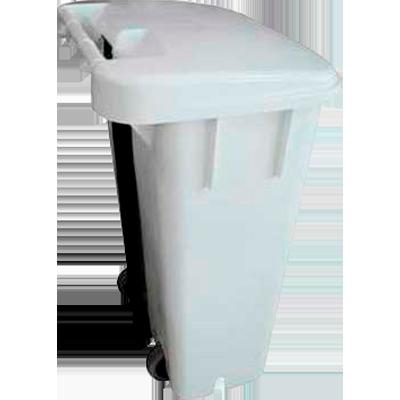 Cesto de lixo plástico capacidade 100 litros com pedal e roda branco unidade Bralimpia  UN