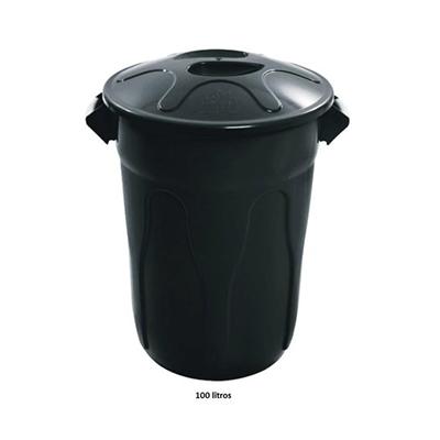 Cesto de lixo plástico com tampa capacidade 100 litros unidade JSN  UN