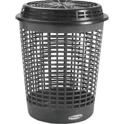 Cesto de lixo Plástico Telado com Tampa Capacidade 55 Litros unidade Plasvale  UN
