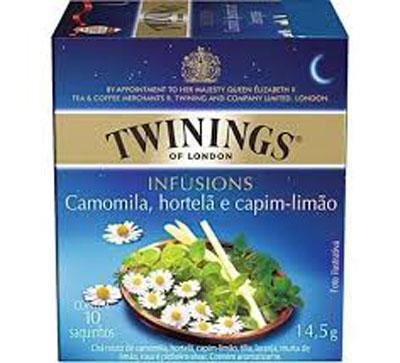 Chá de camomila, hortelã e capim limão 10 envelopes Twinings caixa CX