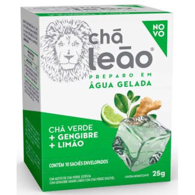 Chá Gelado Verde com Gengibre e Limão 25g Leão caixa CX