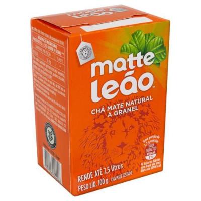 Chá mate natural a granel 100g Leão caixa CX