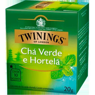 Chá verde e hortelã 10 envelopes Twinings caixa CX