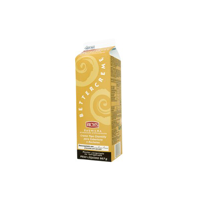 Chantilly líquido sabor baunilha 900g Richs Bettercreme Tetra Pak UN