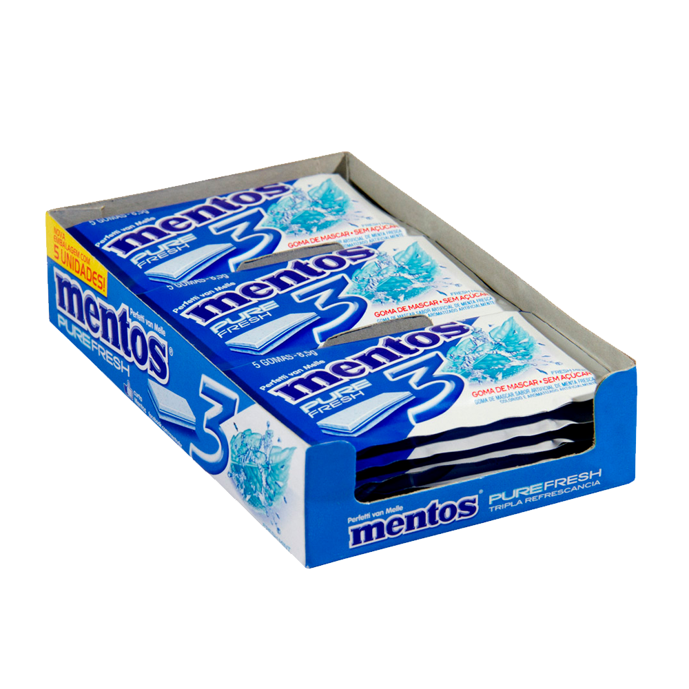 Chiclete Pure Fresh Fresh Mint 15 unidades de 6g Mentos caixa CX