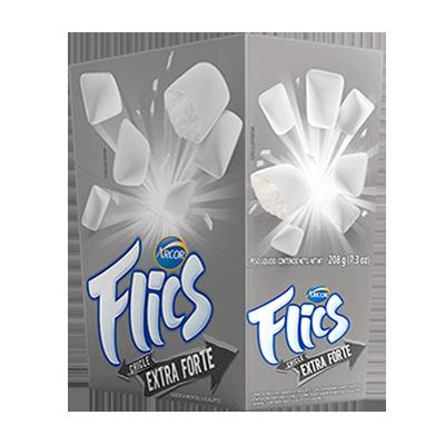 Chiclete sabor extra forte 12 unidades Flics caixa CX