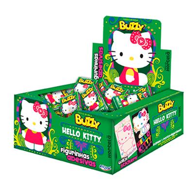 Chiclete sabor Hortelã 100 unidades Buzzy/Hello Kitty caixa CX