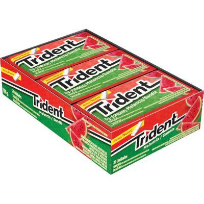 Chiclete sabor melancia 21 unidades Trident caixa CX