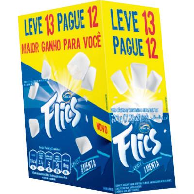 Chiclete sabor menta Leve 13 Pague 12 13 unidades Flics caixa CX