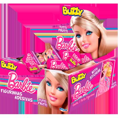 Chiclete sabor Tutti Frutti (100 unidades) Buzzy/Barbie caixa CX