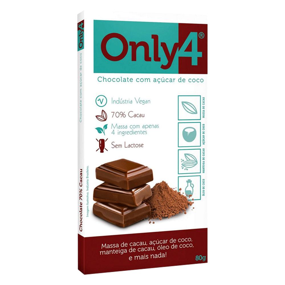 Chocolate 70% cacau 80g Only4  UN
