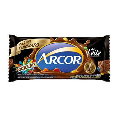 Chocolate ao leite 140g Arcor/Rocklets pacote UN