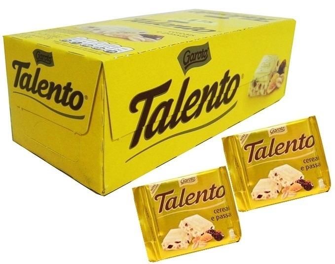 Chocolate branco cereais e passas 15 unidades de 25g Garoto/Talento caixa CX