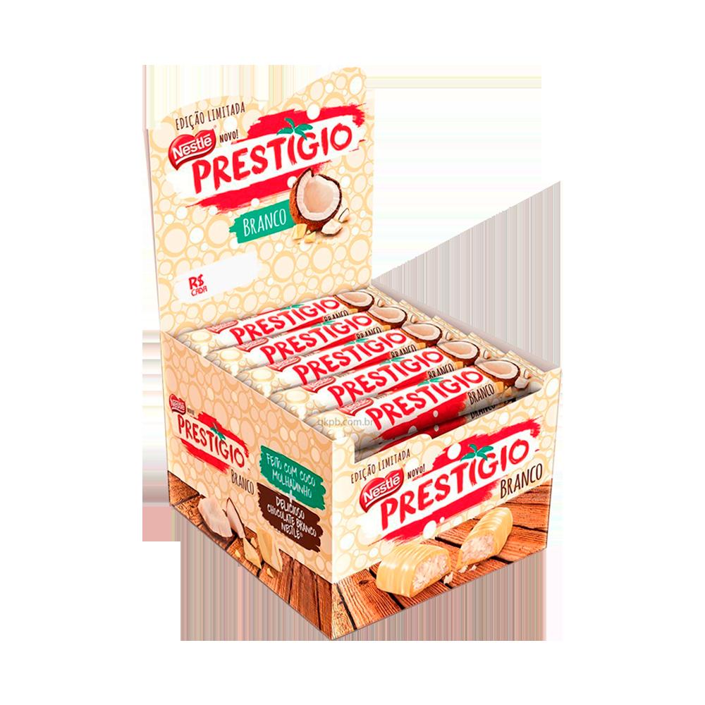 Chocolate branco recheado com coco 30 unidades Nestlé/Prestígio caixa CX