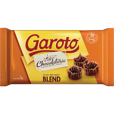 Chocolate cobertura blend ao leite + meio amargo 1kg Garoto  UN