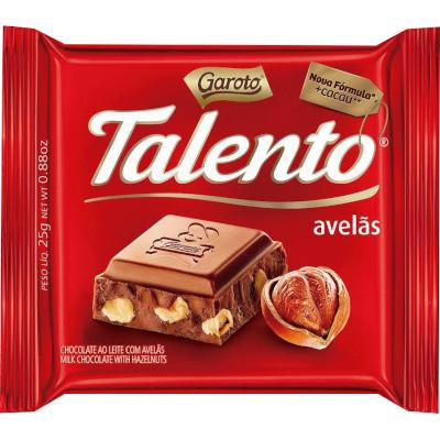 Chocolate com avelãs 15 unidades de 25g Garoto/Talento caixa CX