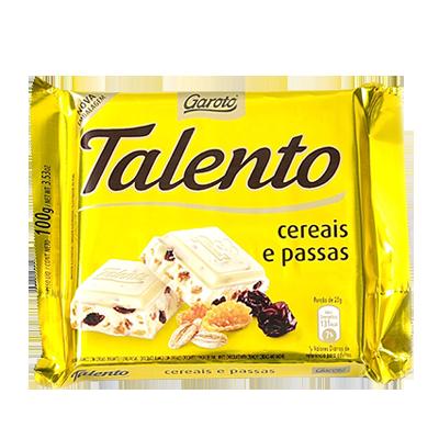 Chocolate com Cereais e Passas 100g Garoto/Talento unidade UN