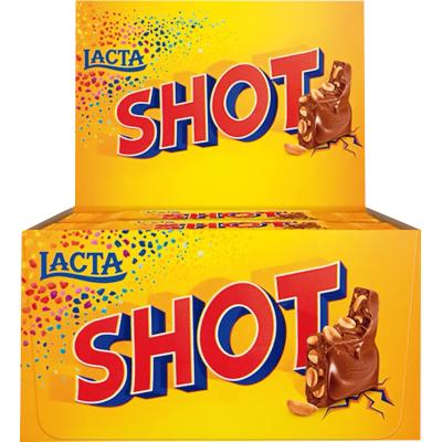 Chocolate com pedaços de amendoim 20 unidades de 20g Lacta/Shot caixa CX