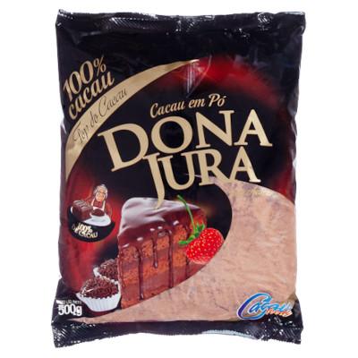 Chocolate em pó 100% cacau 500g Dona Jura pacote PCT