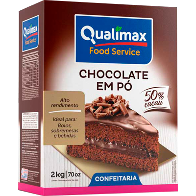 Chocolate em pó 32% cacau 2kg Qualimax pacote PCT