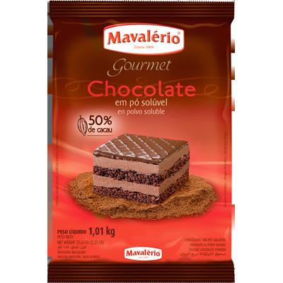 Chocolate em pó 50% cacau 1kg Mavalério pacote PCT