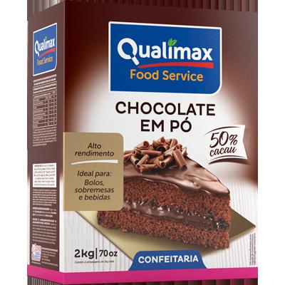 Chocolate em pó 50% cacau 2kg Qualimax pacote PCT