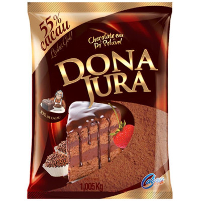 Chocolate em pó 55% cacau 1kg Dona Jura pacote PCT