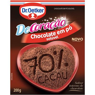 Chocolate em pó 70% cacau 200g Dr. Oetker pacote PCT