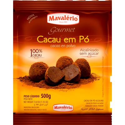 Chocolate em pó alcanilizado 500g Mavalerio pacote PCT